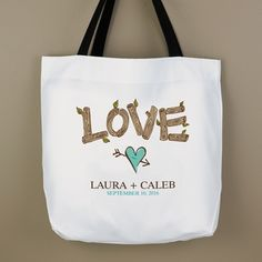 Rustic Love Personalized Tote Bag