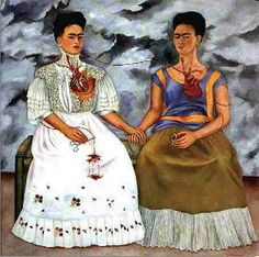 The Two Fridas. This is some of my favorite art and Frida Kahlo is one of my favorite artists. Her style is distinct and i love the self portraits of her. Frida and Diego Rivera are my two favorite Mexican artists. Diego Rivera, Frida E Diego, Frida Art, Frida Kahlo Artwork, Frida Kahlo Facts, Tomie Ohtake, Mexican Artists, Johannes Vermeer, Famous Artists