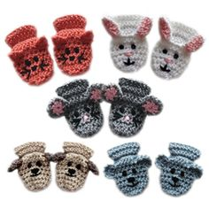 crochet animal baby mittens