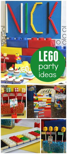 A Lego themed boy birthday party with Lego games, building your own lunch and Lego races! See more party planning ideas at CatchMyParty.com!