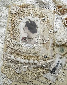 Vintage-style fabric collage, handcrafted with layers and layers of lace, vintage image, trims, and small flower embellishments