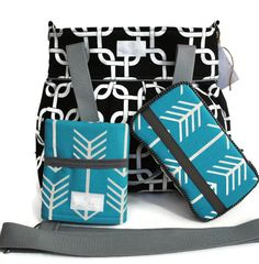 Diaper Bag Gift Set - Black Gotcha Diaper Bag - Travel Pad - Wipes Case - Messenger Strap