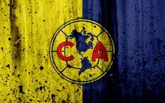 Download wallpapers 4k, FC Club America, grunge, Liga MX, soccer, art, Primera Division, football club, Mexico, Club America, stone texture, Club America FC
