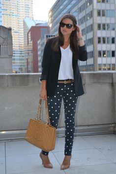 Caroline In The City wearing Paige Denim polka dot jeans