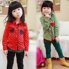2013 kids Blouses spring autumn love applique polka dot female child little girl long-sleeve shirt $13.48