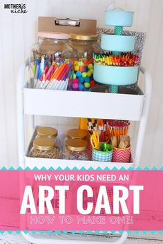 ENCOURAGE CREATIVITY How to Make an ART CART for Kids! is part of Art Organization Kids - An art cart is the perfect way to let you kids express their creativity and stay clean and organized at the same time, leaving no mess for you! Arts And Crafts Storage, Arts And Crafts House, Art Storage, Kids Storage, Storage Ideas, Crayon Storage, Craft Storage Cart, Marker Storage, Arts And Crafts Movement