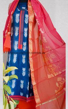Pure chanderi silk kurta with shibori tie-dye pattern, with double shaded chanderi dupatta and matching salwar.Shibori is a form of tie and dyeing where. Shibori Tie Dye, Tie Dye Patterns, Salwar Suits, Silk Fabric, Kurti, Kimono Top, Lemon, Fabrics, Chiffon