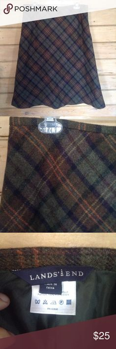 Vintage skirt Vintage wool skirt by Lands End.  Side zipper  Size 12 Skirts A-Line or Full