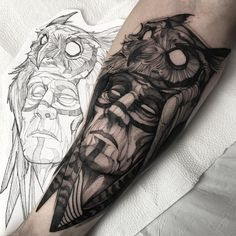 cool native tattoo with owl by @fredao_oliveira
