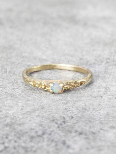 Precious Opal Pinkie Ring