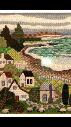 shoreline needlepoint, designer unknown