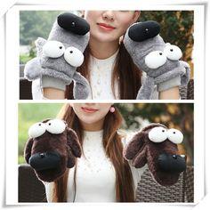 16.80$  Watch here - http://viwig.justgood.pw/vig/item.php?t=qn1uy0g13372 - Women Cute Cartoon Gloves Big Eye Dog Winter Warm Novelty Plush Thick Wrist Mitt