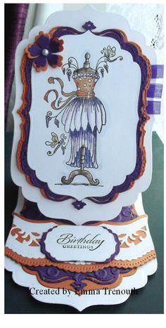 Shaped easle card made using spellbinders labels 4 and border dies in purple & orange