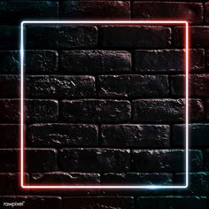 Square neon frame on black brick wall vector | premium image by rawpixel.com / manotang Framed Wallpaper, Neon Wallpaper, Sunset Wallpaper, Brick Wallpaper, Aesthetic Pastel Wallpaper, Pink Marble Background, Brick Wall Background, Black Background Images, Black Brick Wall