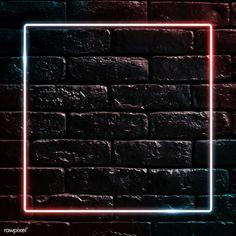 Square neon frame on black brick wall vector | premium image by rawpixel.com / manotang Pink Marble Background, Brick Wall Background, Black Background Images, Black Brick Wall, White Brick Walls, Black Walls, Orange Brick, Framed Wallpaper, Sunset Wallpaper