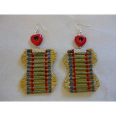 Recycled Curtain Ribbon Fringe Earrings Boho, Gipsy Jewelry ($10) ❤ liked on Polyvore featuring jewelry and earrings
