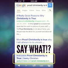 """Woke up this morning to something cool. Google put my first book as the THIRD result when you search for """"proof Christianity is true"""" ... mind == blown!!   ------------------   Download the book Irrefutable Proof Christianity Is True http://callup.org/proofbook"""