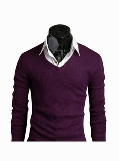 This item is shipped in 48 hours, included the weekends. This classic purple sweater is sewn with a modern, snug fit. This plain black piece is excellent for pairing over a button-down shirt. You coul