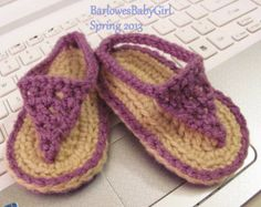 Buggs - Crochet Baby Thong Sandals in Plum Lilac or  Pick Your Color