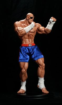 """Scale """"Sagat"""" Mixed Media Statue by Pop Culture Shock Sagat Street Fighter, Street Fighter 1, Street Fighter Characters, Comic Character, Game Character, Gi Joe, Pop Culture Shock, Street Fights, King Of Fighters"""