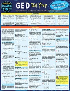 GED Test Prep: Mathematical Reasoning Laminated Study Guide - BarCharts Publishing Inc makers of QuickStudy Ged Study Guide, Math Study Guide, Anchor Charts, Ged Test Prep, Gre Study, Gre Vocabulary, English Vocabulary, Ged Math, Gre Prep