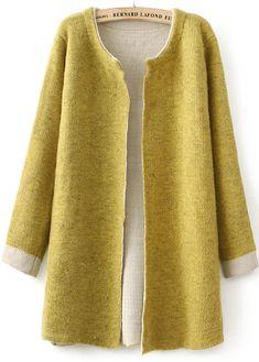 Cardigan en tricot mince manche longue -Jaune  24.65