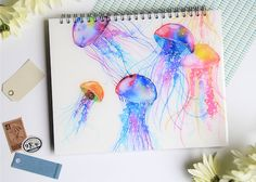 Photo taken by Ana Victoria Calderón - Painting & Drawing, Watercolor Paintings, Watercolors, Paint Strokes, New Things To Learn, Jellyfish, Art Techniques, Cool Art, Illustration Art