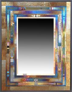 "Thomas Meyers Studio - ""Quion"" Wall Mirror Thomas Meyers Quion Wall Mirror measures 28"" H x 22"" W x 1.5"" D, with the inset beveled mirror measuring 18""H x 12""W. Thomas Meyers mirrors and panels are cr"