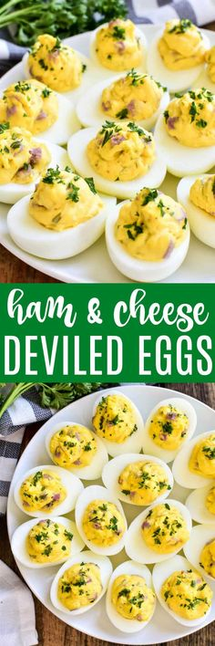 Ham and Cheese Deviled Eggs are a delicious twist on a classic recipe! This easy appetizer is made with just a handful of ingredients, comes together quickly, and is always hit at parties and gatherings. Perfect for Easter brunch, baby showers, or summer cookouts, if you love deviled eggs you'll LOVE this ham and cheese twist!