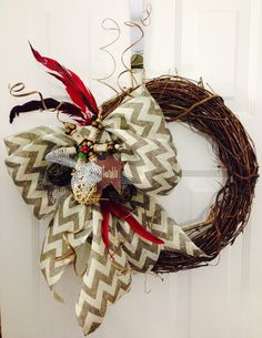 Chevron burlap Christmas grapevine wreath. ChelleB Design