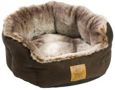 House Of Paws Medium 22 Faux Suede and Arctic Fox Faux Fur Pet Bed With Base
