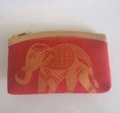 Thai Elephant Handicraft Fabric Zipper Coin Bag Wallet Handmade Gift Souvenir