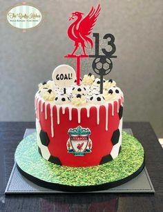 Football Themed Cakes, Football Birthday Cake, 6th Birthday Cakes, Liverpool Cake, Liverpool Soccer, Soccer Cake, Soccer Party, Football Cake Design, Fall Cookies