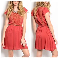New!!! Rust Belted Dress/No Trades