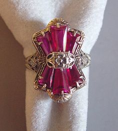 Edwardian 14k white gold filigree ring with keystone shaped man made rubies