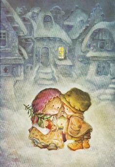 *Lisi Martin* Christmas Drawing, Christmas Art, Vintage Christmas, Vintage Cards, Vintage Postcards, Illustrations, Illustration Art, Mary May, Decoupage Vintage