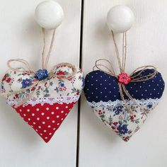 2 Large Liberty Lavender Heart Sachets-Heart Door Hangers- Lavender Filled Cuhion Hangers-Country Cottage Style Made In Liberty Of London