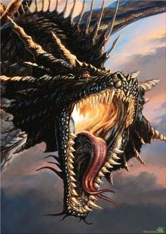 """Black Dragon by Todd Lockwood -"""" My first cover for Dragon Magazine. Everyone who stopped by as I was painting it said the same thing: 'That tongue! Magical Creatures, Fantasy Creatures, Dragon Medieval, Dragon Occidental, Sublime Creature, Cool Dragons, Dragon Artwork, Dragon Pictures, Fantasy Dragon"""
