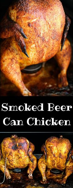 Smoked Beer Can Chicken - Tony In The House Smoked Beer Can Chicken, Smoked Chicken Recipes, Beer Chicken, Canned Chicken, Electric Smoker Beer Can Chicken Recipe, Chicken Smoker Recipes, Traeger Chicken, Smoked Chicken Wings, Chicken Rub