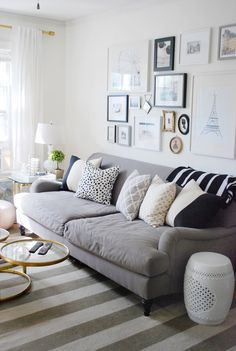 Live Creating Yourself.: Ladyplace: Living Room Details - gray couch, stripe