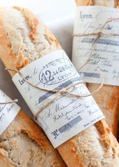 Each of our table settings will include a baguette - but of course to represent the Frenchie in ze wedding... and to be eaten with the delicious BBQ.