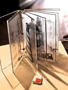'I want to be a lighthouse keeper.', Jaye Quin, digital images on perspex, linen thread. Paper Book, Paper Art, Plastic Fou, Lighthouse Keeper, Book Sculpture, Book Projects, Handmade Books, Book Binding, Kirigami