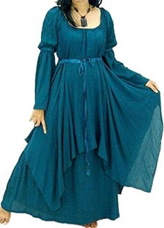 Lotustraders Dress Peasant Layer Renaissance Teal One Siz...
