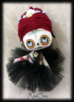 Day of the dead doll Martina. Mini supeer cute doll sugar skull inspired by Dia de los Muertos. Handmade and hand painted <3