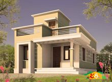 Double storied Flat roof House Less than 3000sqft