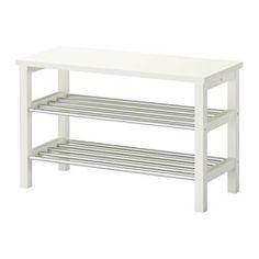 IKEA - TJUSIG, Bank mit Schuhablage, weiß, 108x50 cm,