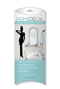 Peel and Stick Decal - Glamour Silhouette - Girl's Dorm Room Wall Decorations