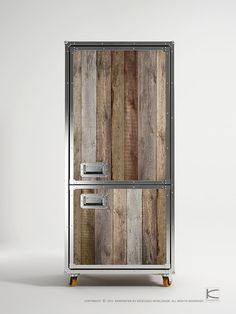 Love the rustic cozy look of this tv cabinet, wouldn't it be awesome for a fridge too! Roadie collection by Karpenter. But put the charred wood on it. You think?