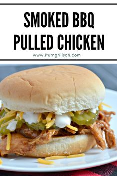 Smoked BBQ Pulled Chicken—no crockpot needed, enjoy these easy pulled chicken sandwiches with great smoked flavor for dinner tonight! Grilling Recipes, Fish Recipes, Crockpot Recipes, Whole Food Recipes, Pulled Chicken Sandwiches, Bbq Chicken Sandwich, Grilled Chicken, Homemade Tacos, Homemade Taco Seasoning