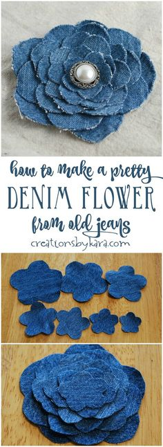 Blue Jean Upcycles - Denim Flower From Old Jeans - Ways to Make Old Denim Jeans Into DIY Home Decor, Handmade Gifts and Creative Fashion - Transform Old Blue Jeans into Pillows, Rugs, Kitchen and Living Room Decor upcycled crafts Blue Jeans, Jeans Bleu, Blue Denim, Blouse En Jean, Denim Blouse, Upcycled Crafts, Repurposed, Denim Flowers, Fabric Flowers